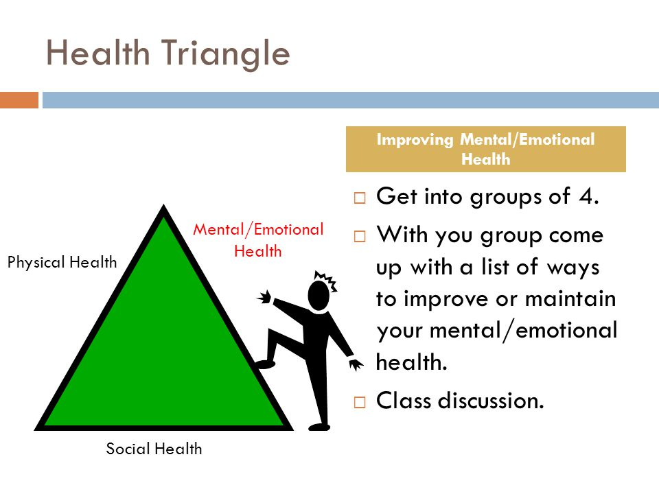 Health Triangle  Get into groups of 4.