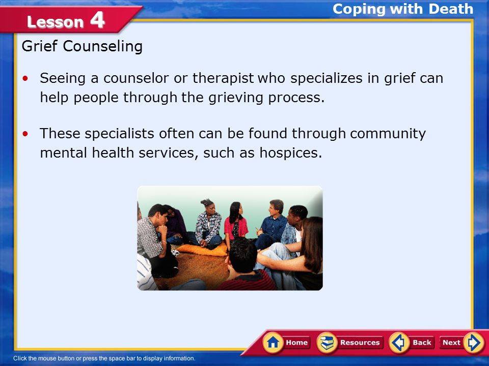 Lesson 4 Support from family and friends is important during mourning.mourning You can help by: Showing empathy or just being there to listen.