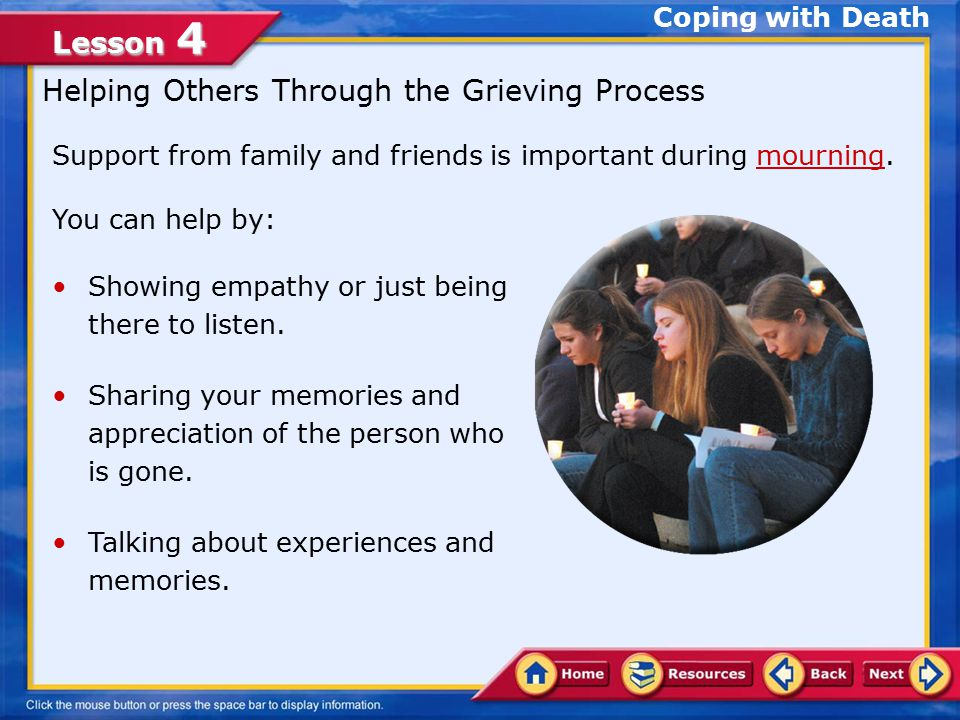 Lesson 4 A.Correct. An individual's total response to a major loss is known as a grief response.