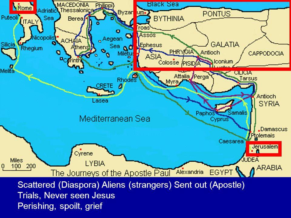 Scattered (Diaspora) Aliens (strangers) Sent out (Apostle) Trials, Never seen Jesus Perishing, spoilt, grief