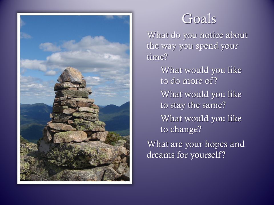 Goals What do you notice about the way you spend your time? What would you like to do more of? What would you like to stay the same? What would you li