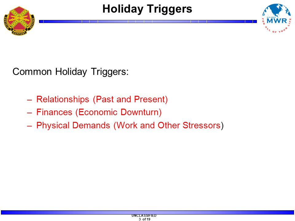 UNCLASSIFIED 3 of 19 Holiday Triggers Common Holiday Triggers: –Relationships (Past and Present) –Finances (Economic Downturn) –Physical Demands (Work and Other Stressors)