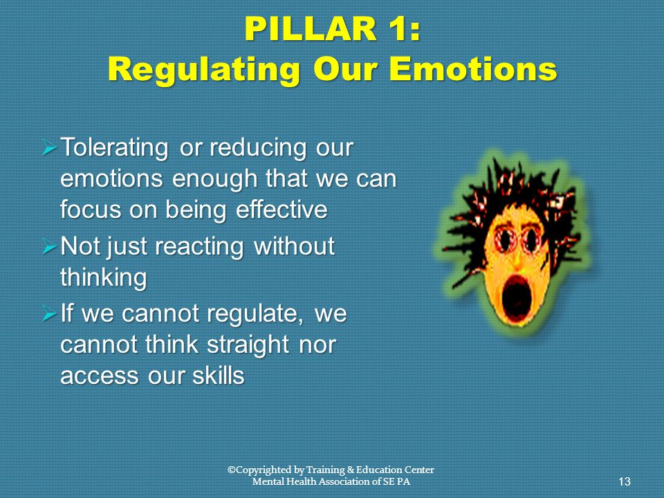 PILLAR 1: Regulating Our Emotions  Tolerating or reducing our emotions enough that we can focus on being effective  Not just reacting without thinking  If we cannot regulate, we cannot think straight nor access our skills ©Copyrighted by Training & Education Center Mental Health Association of SE PA 13