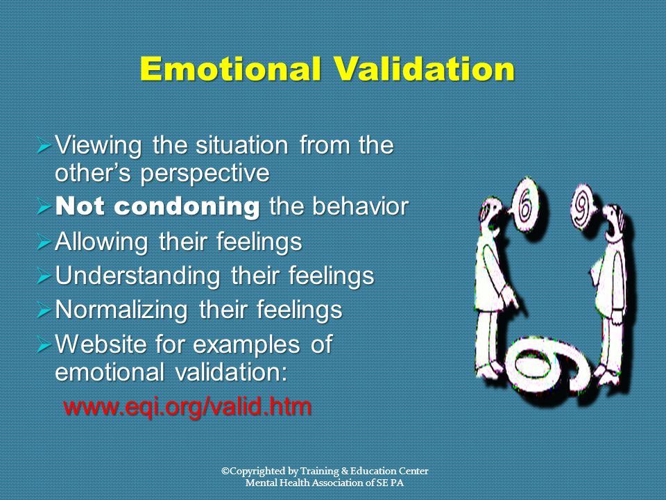 Emotional Validation  Viewing the situation from the other's perspective  Not condoning the behavior  Allowing their feelings  Understanding their feelings  Normalizing their feelings  Website for examples of emotional validation: www.eqi.org/valid.htm www.eqi.org/valid.htm ©Copyrighted by Training & Education Center Mental Health Association of SE PA