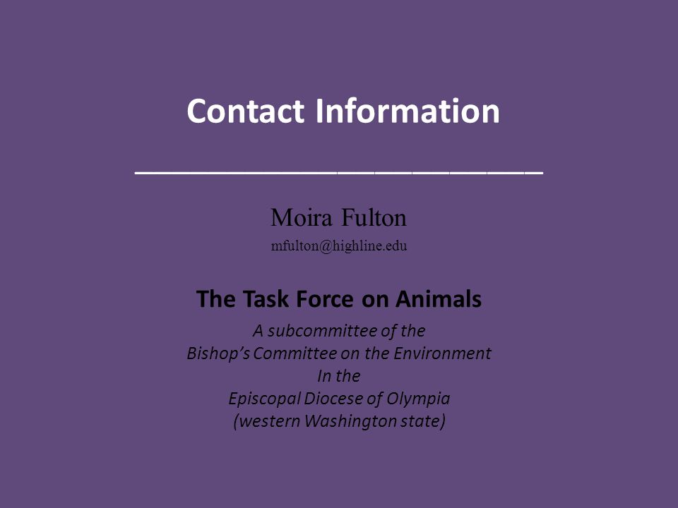 Contact Information ______________________ Moira Fulton The Task Force on Animals A subcommittee of the Bishop's Committee on the Environment In the Episcopal Diocese of Olympia (western Washington state)