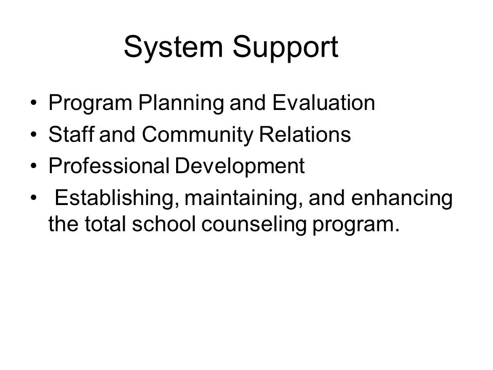 System Support Program Planning and Evaluation Staff and Community Relations Professional Development Establishing, maintaining, and enhancing the total school counseling program.