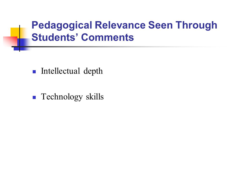 Pedagogical Relevance Seen Through Students' Comments Intellectual depth Technology skills