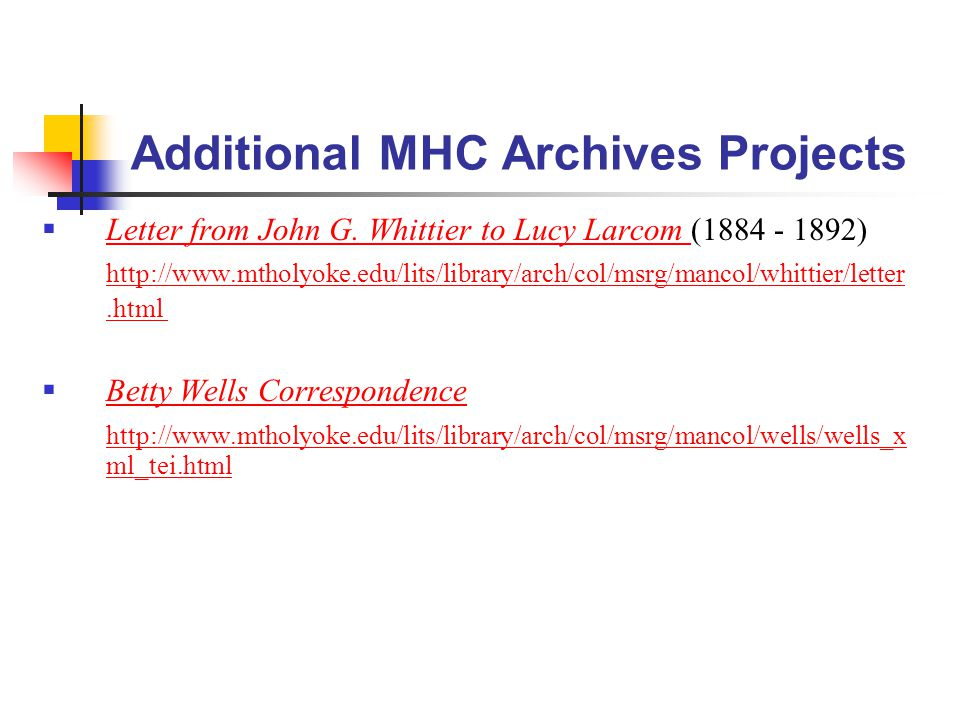 Additional MHC Archives Projects  Letter from John G.