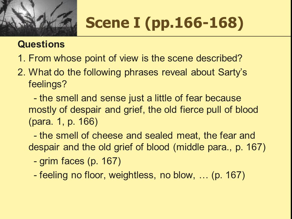 Scene I (pp.166-168) Questions 1.From whose point of view is the scene described? 2.What do the following phrases reveal about Sarty's feelings? - the