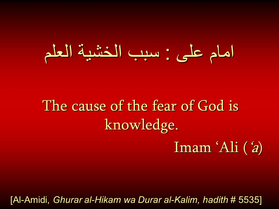 امام على : سبب الخشية العلم The cause of the fear of God is knowledge. Imam 'Ali ('a) Imam 'Ali ('a) [Al-Amidi, Ghurar al-Hikam wa Durar al-Kalim, had