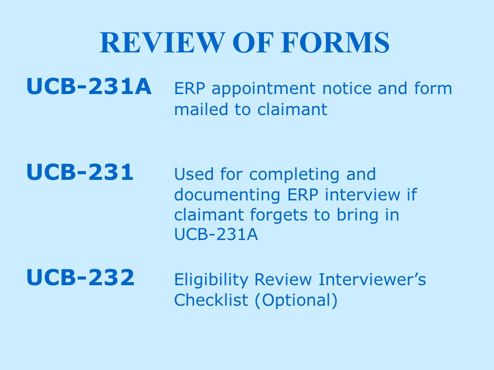 REVIEW OF FORM UCB-231A TYPES OF WORK BEING SOUGHT.