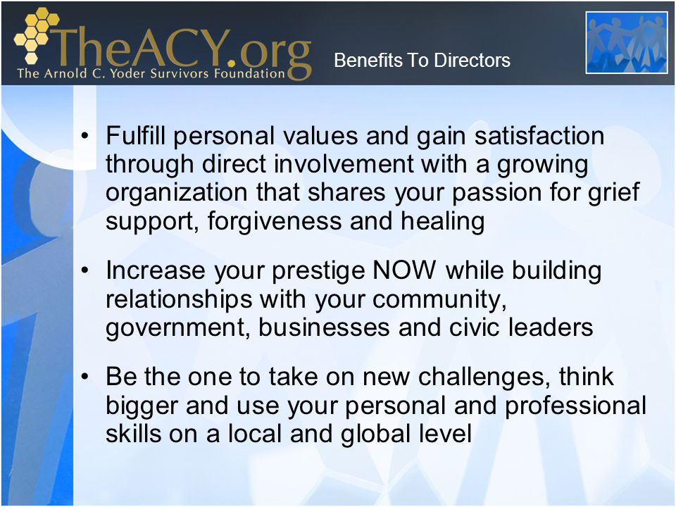 Board Requirements Learn & promote TheACY's vision and mission Our board structure –Honorary Board no meetings, gives of name, influence and affluence to support the growth the organization –Board Members attend 3 out of 4 meetings per year –Executive Board attends 9 out of 12 meetings per year –Advisory Board by phone as needed Five hundred dollars get or give policy Chair at least one committee, be a committee member of at least one committee Be loyal to The ACY and avoid conflict of interests, keep all matters confidential Criminal & background check required Email: Info@TheACY.org