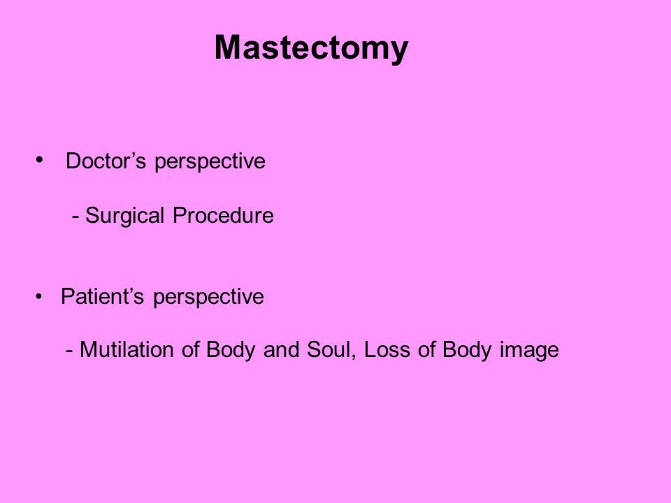 Doctor's perspective - Surgical Procedure Patient's perspective - Mutilation of Body and Soul, Loss of Body image Mastectomy
