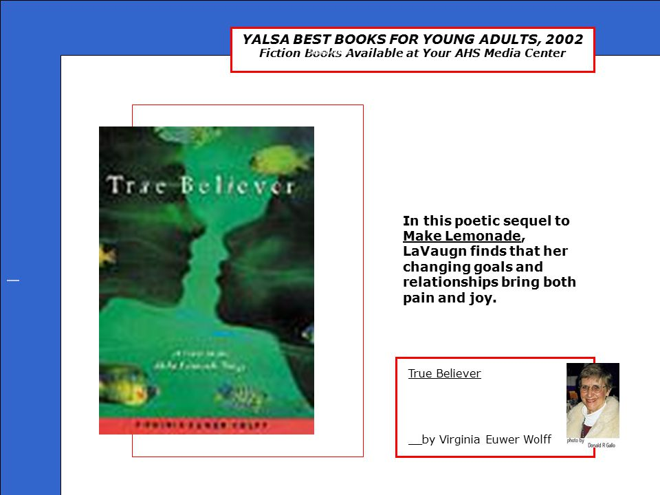 YALSA BEST BOOKS FOR YOUNG ADULTS, 2002 Fiction Books Available at Your AHS Media Center The Grave __by James Heneghan Tommy was abandoned in a Liverpool department store when he was a baby and has been raised in foster care all his life.