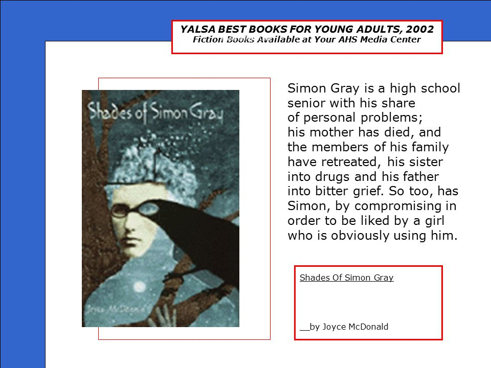 YALSA BEST BOOKS FOR YOUNG ADULTS, 2002 Fiction Books Available at Your AHS Media Center The End Presented by: Ms.