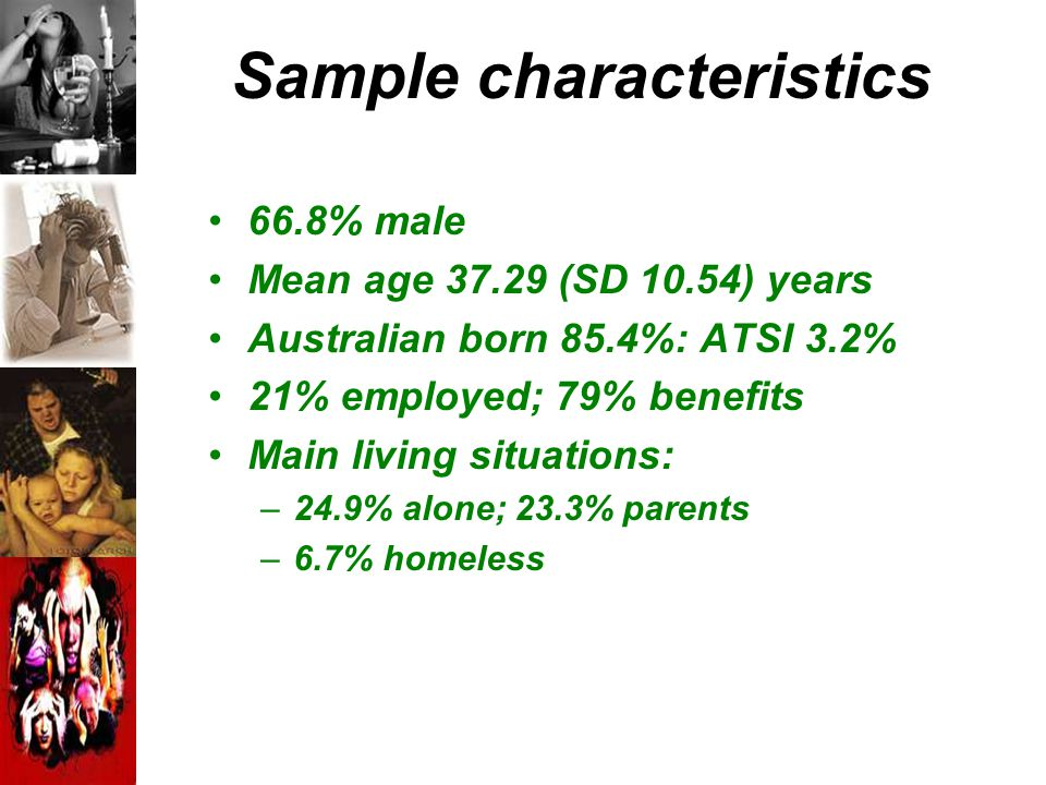 Sample characteristics 66.8% male Mean age 37.29 (SD 10.54) years Australian born 85.4%: ATSI 3.2% 21% employed; 79% benefits Main living situations: –24.9% alone; 23.3% parents –6.7% homeless