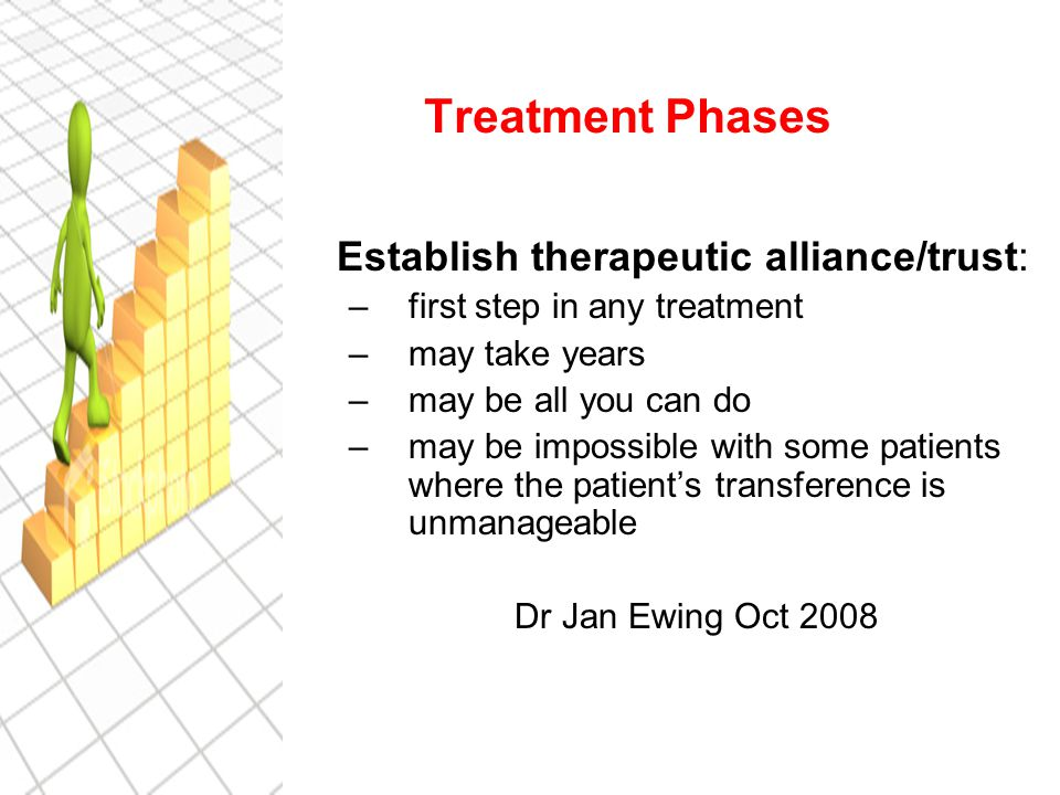 Treatment Phases Establish therapeutic alliance/trust: –first step in any treatment –may take years –may be all you can do –may be impossible with some patients where the patient's transference is unmanageable Dr Jan Ewing Oct 2008
