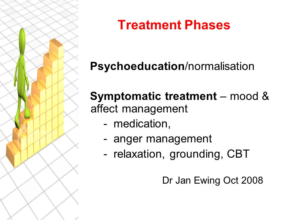 Treatment Phases Psychoeducation/normalisation Symptomatic treatment – mood & affect management - medication, - anger management - relaxation, grounding, CBT Dr Jan Ewing Oct 2008