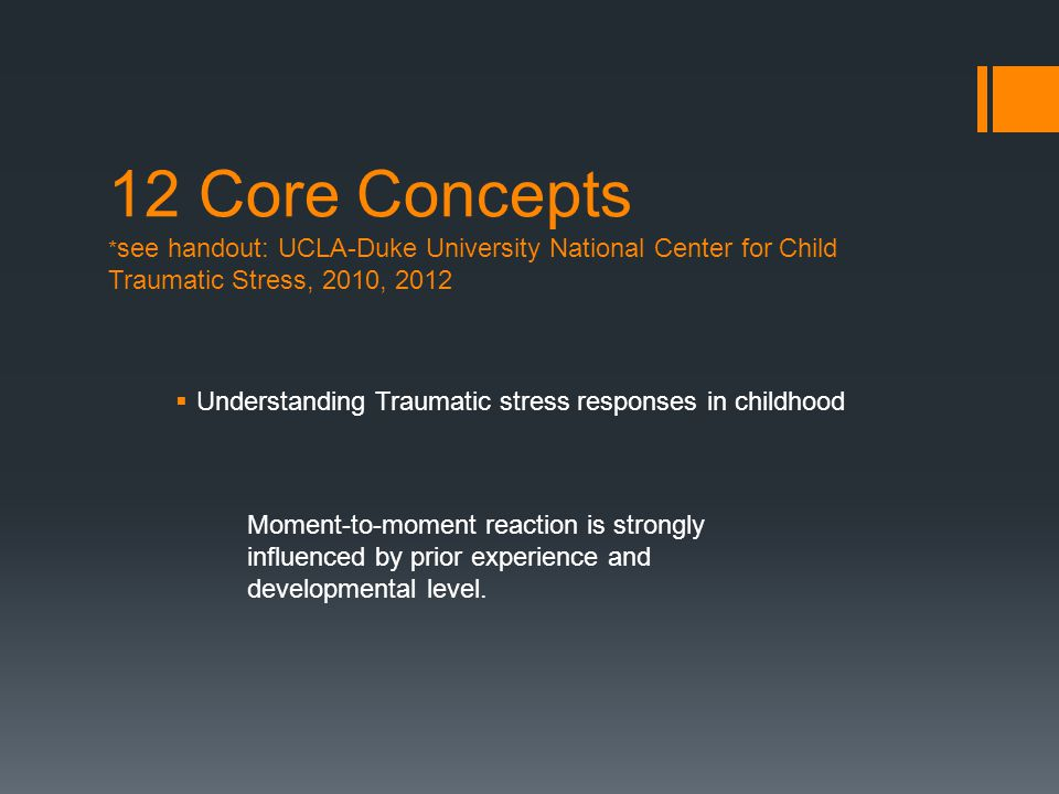 12 Core Concepts * see handout: UCLA-Duke University National Center for Child Traumatic Stress, 2010, 2012  Understanding Traumatic stress responses