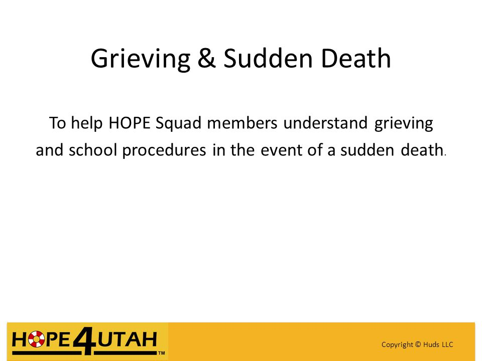 Grieving & Sudden Death To help HOPE Squad members understand grieving and school procedures in the event of a sudden death.