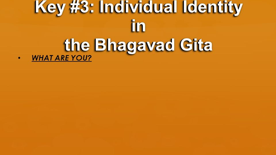 WHAT ARE YOU? Key #3: Individual Identity in the Bhagavad Gita