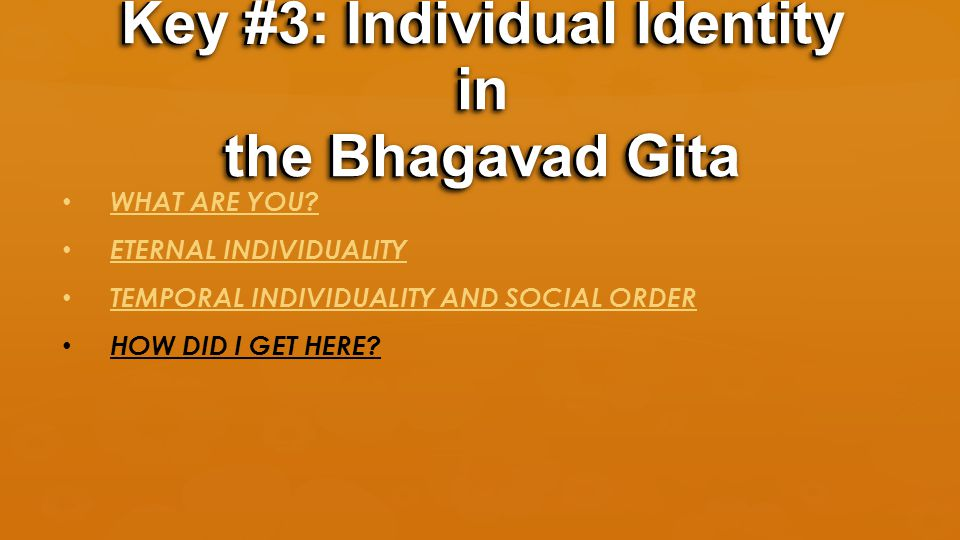 WHAT ARE YOU? ETERNAL INDIVIDUALITY TEMPORAL INDIVIDUALITY AND SOCIAL ORDER HOW DID I GET HERE? Key #3: Individual Identity in the Bhagavad Gita
