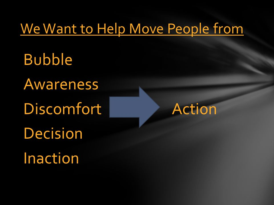 Action Bubble Awareness Discomfort Decision Inaction We Want to Help Move People from