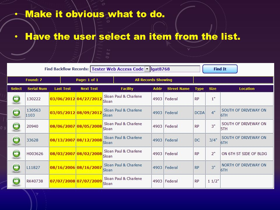 Make it obvious what to do. Have the user select an item from the list.