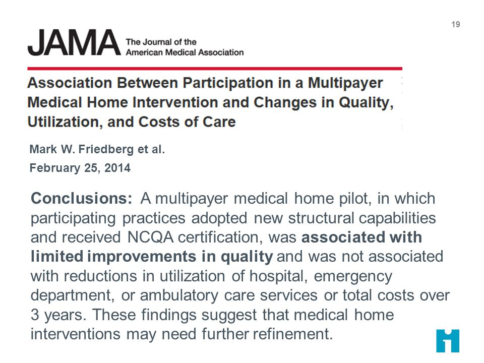 Conclusions: A multipayer medical home pilot, in which participating practices adopted new structural capabilities and received NCQA certification, was associated with limited improvements in quality and was not associated with reductions in utilization of hospital, emergency department, or ambulatory care services or total costs over 3 years.