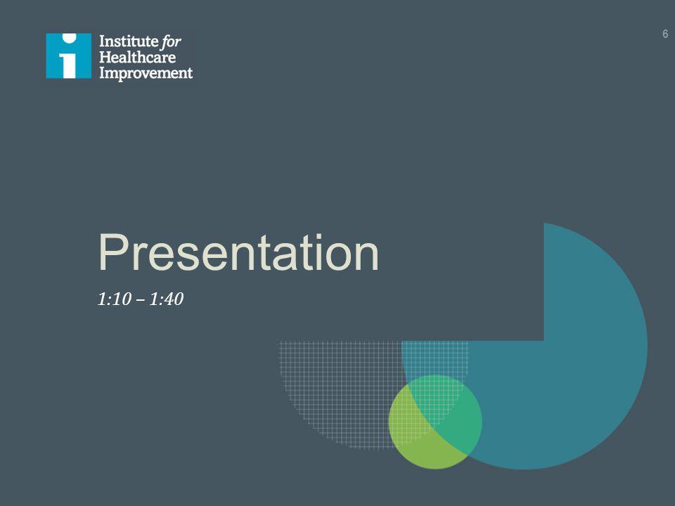 Presentation 1:10 – 1:40 6