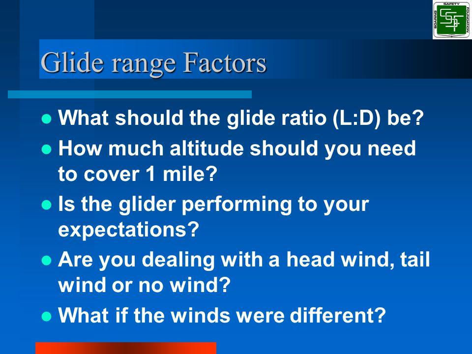Glide range Factors What should the glide ratio (L:D) be.