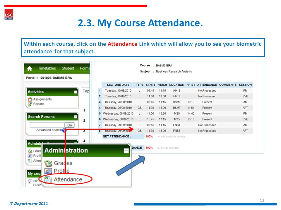 2.3. My Course Attendance.