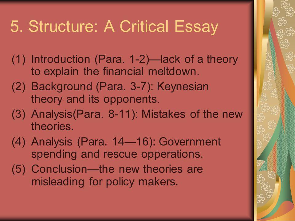 5. Structure: A Critical Essay (1)Introduction (Para.