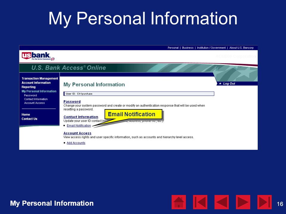 16 My Personal Information Email Notification