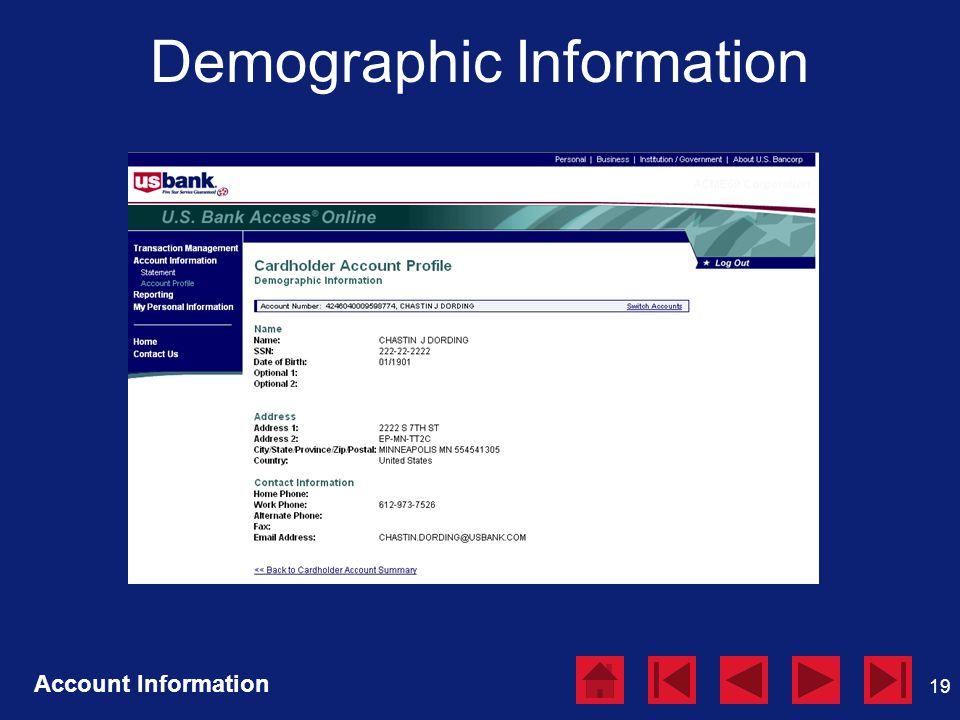19 Demographic Information Account Information