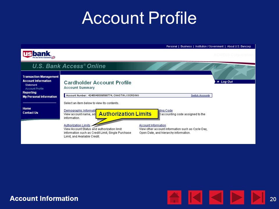 20 Account Profile Account Information Authorization Limits