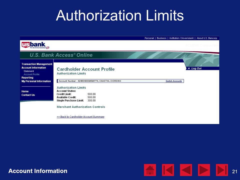 21 Authorization Limits Account Information