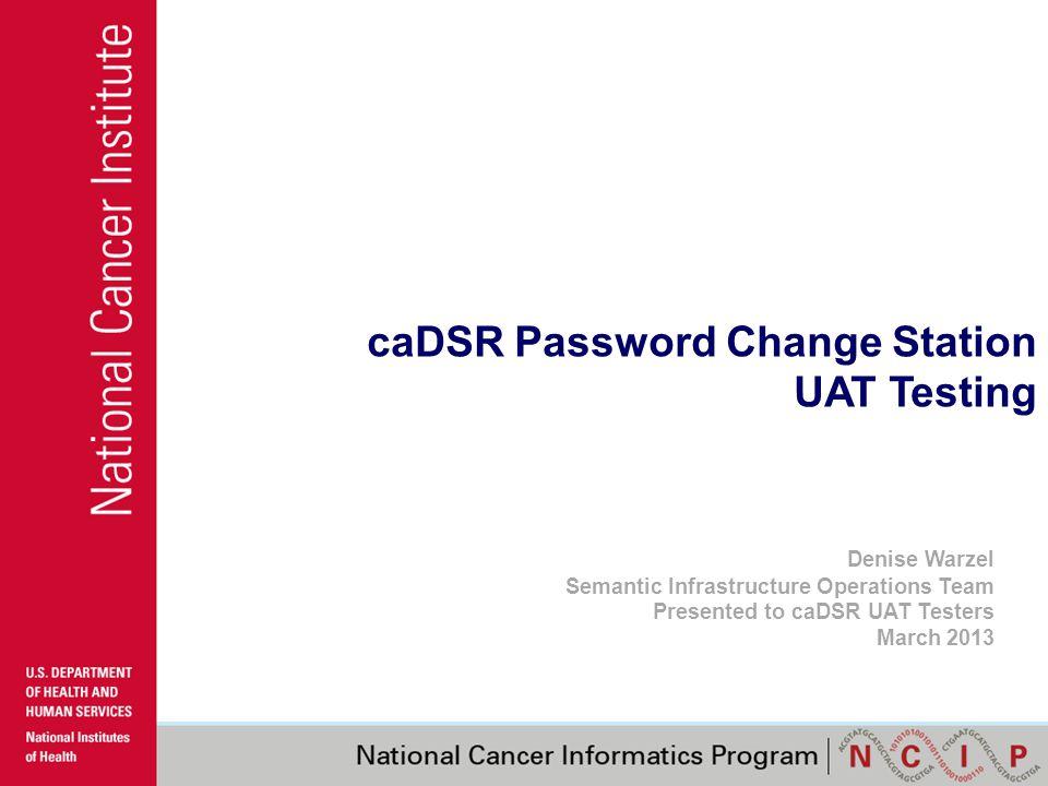 caDSR Password Change Station UAT Testing Denise Warzel Semantic Infrastructure Operations Team Presented to caDSR UAT Testers March 2013