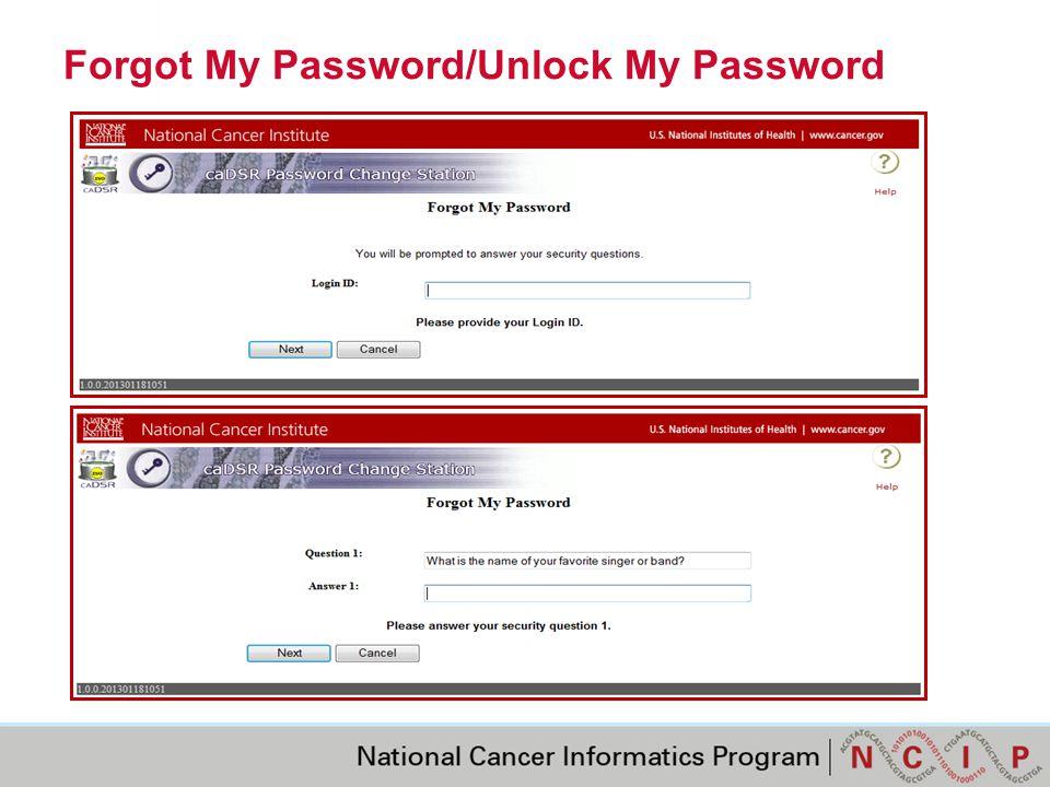 Forgot My Password/Unlock My Password