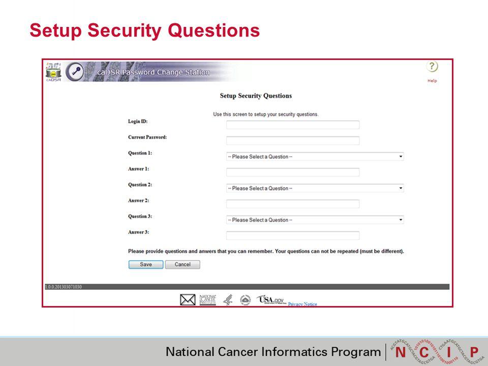 Setup Security Questions