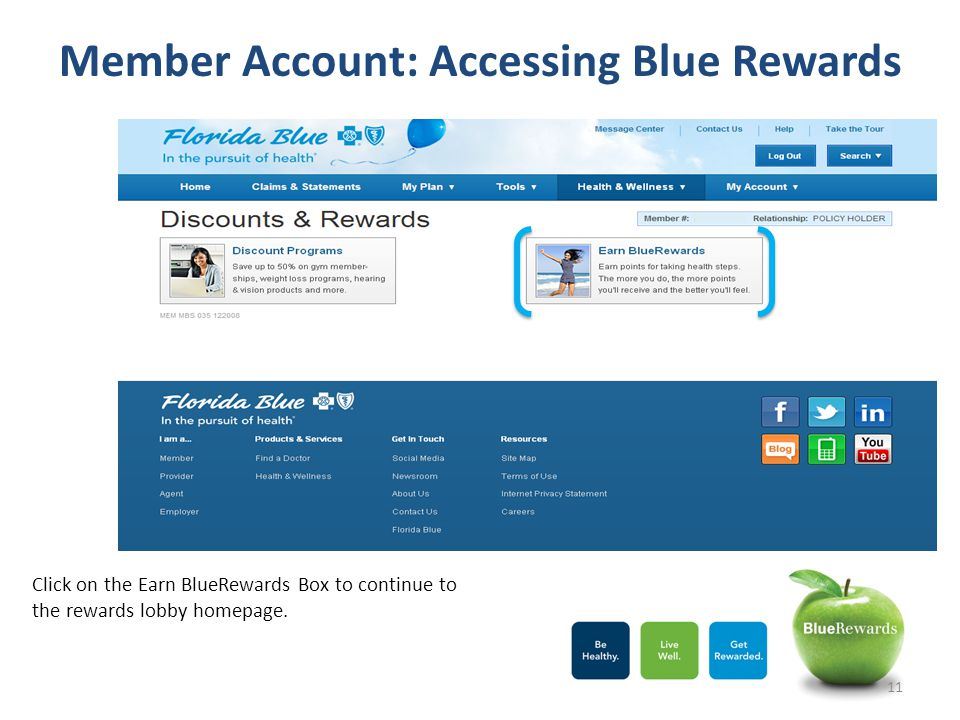 Member Account: Accessing Blue Rewards Click on the Earn BlueRewards Box to continue to the rewards lobby homepage. 11