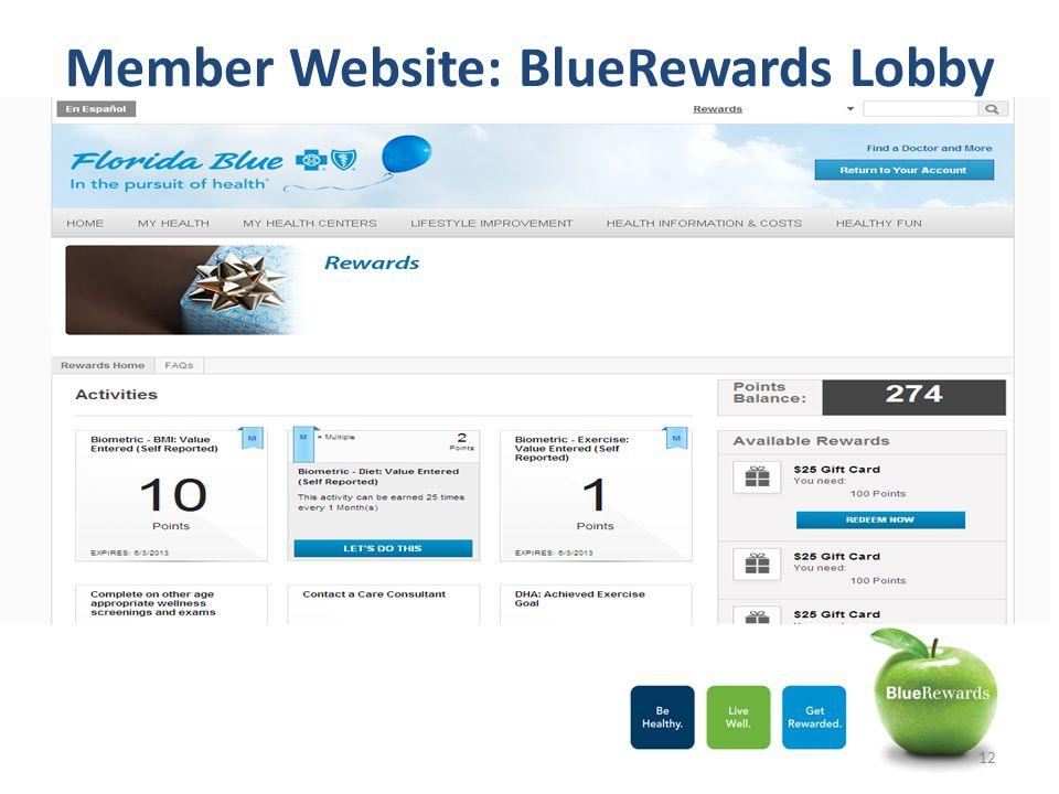 Member Website: BlueRewards Lobby 12