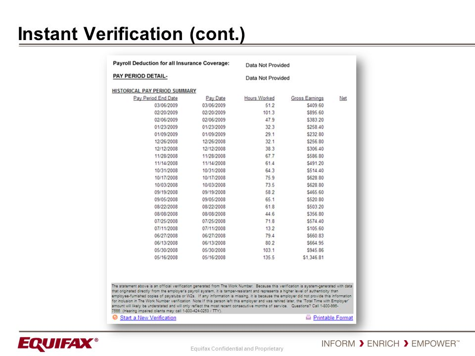 Equifax Confidential and Proprietary Instant Verification (cont.)