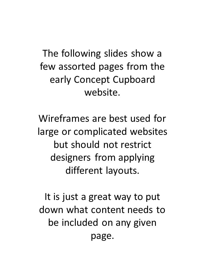 The following slides show a few assorted pages from the early Concept Cupboard website.