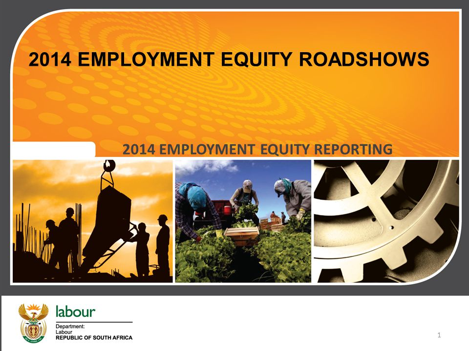 2014 EMPLOYMENT EQUITY ROADSHOWS 2014 EMPLOYMENT EQUITY REPORTING 1