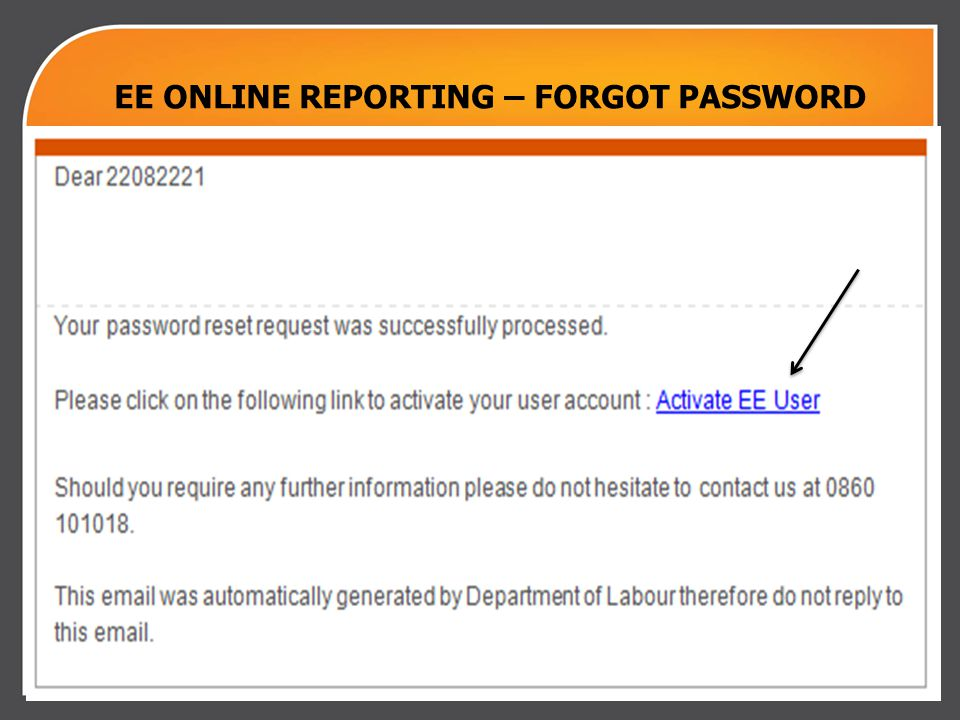 Chief Directorate Communication | 2011.00.00 EE ONLINE REPORTING – FORGOT PASSWORD
