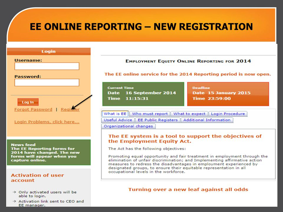 EE ONLINE REPORTING – NEW REGISTRATION