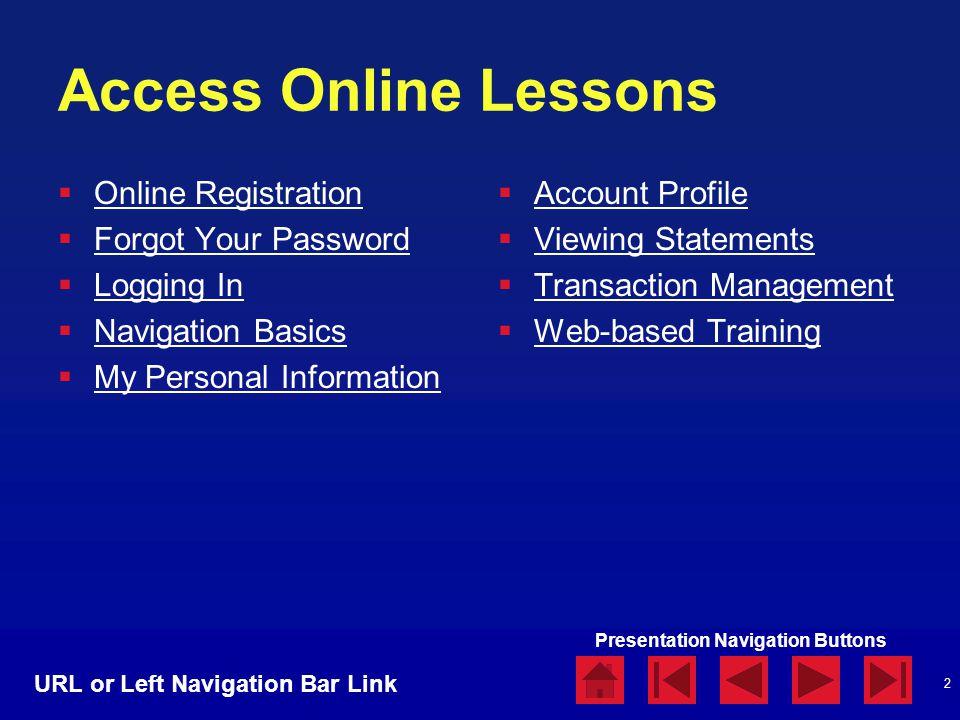 2 Access Online Lessons  Online Registration Online Registration  Forgot Your Password Forgot Your Password  Logging In Logging In  Navigation Bas