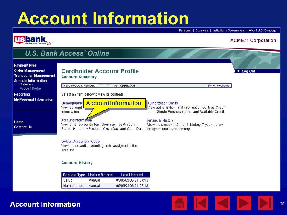 20 Account Information