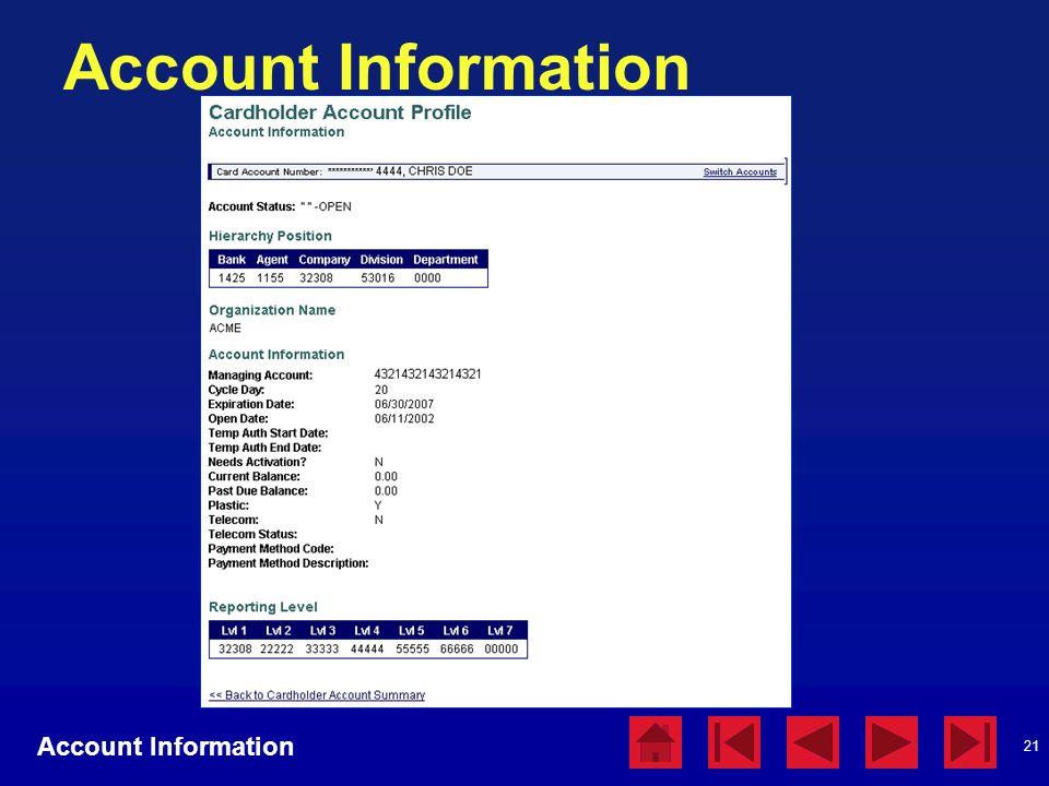 21 Account Information